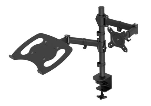 Black Monitor & Laptop Mount Fully Adjustable Desk Stand 1 LCD Screen up to 27