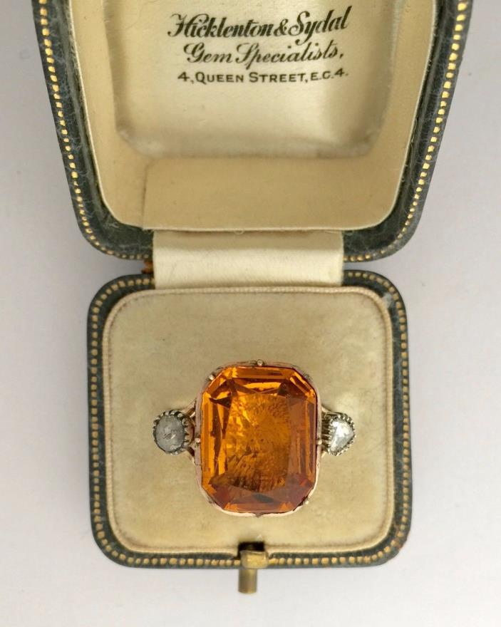A Truly Magnificent Georgian 8ct Citrine & Rose Cut Diamond Ring Circa 1800's