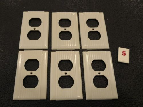 6 Ivory Vtg Bakelite Ribbed Deco Single Gang Bryant Outlet Plate Covers R5