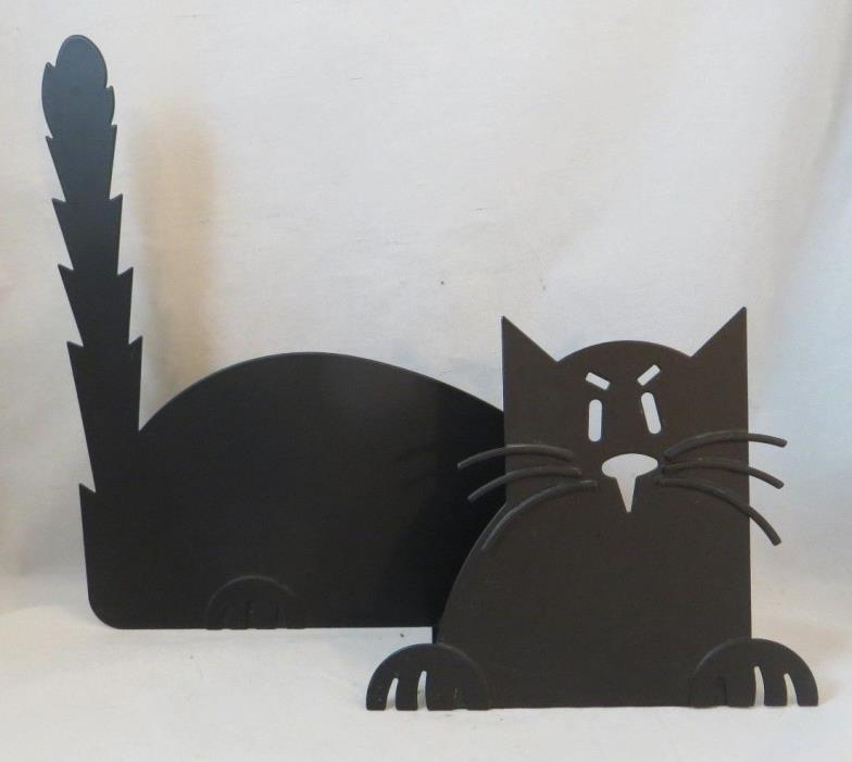 Large Black Cat Candle Holder Metal Halloween Votive Kitty Cat 10
