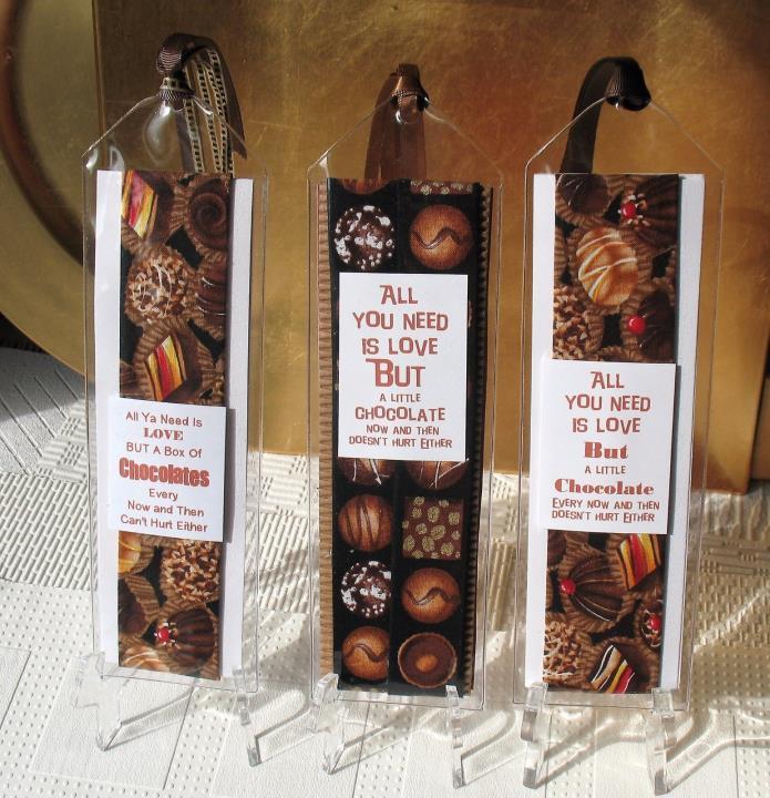 3 OOAK Chocolate Lovers Bookmarks~Linda Lee Taylor Designs-FREE Ship-BMK14