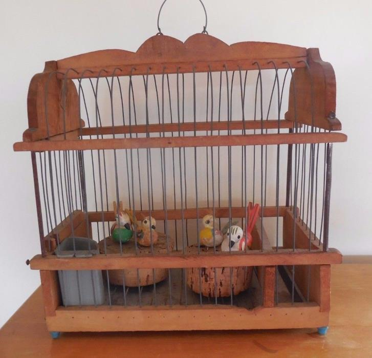 German Antique Bird Cage Wooden Wood Erzgebirge Stick Pin  Birds  Germany  1920s