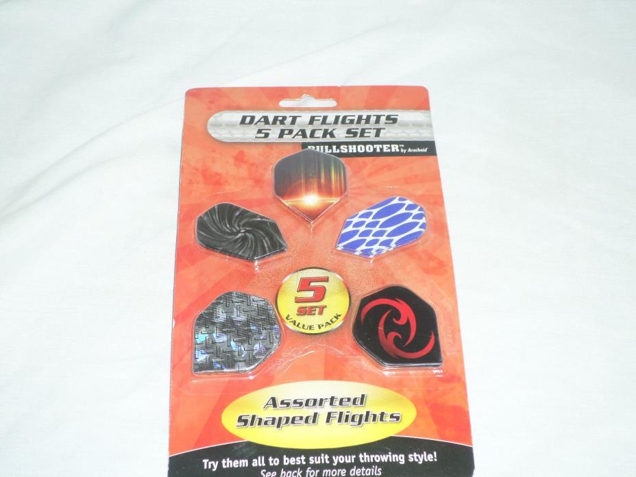 Bullshooter by Arachnid Dart Flights 5 Pack Set Assorted Shaped Flights