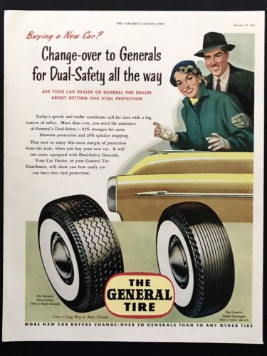 1953 Vintage Print Ad GENERAL TIRE Yellow Car Couple Illustration 50's Style