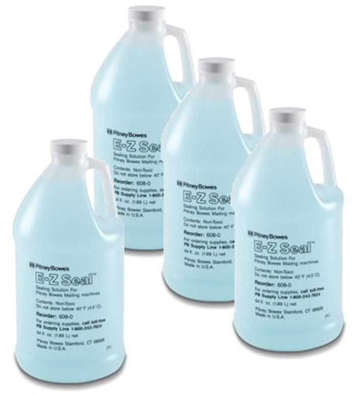 Case of Pitney Bowes 608-0 E-Z Seal Sealing Solution 4 x 1/2 gallon