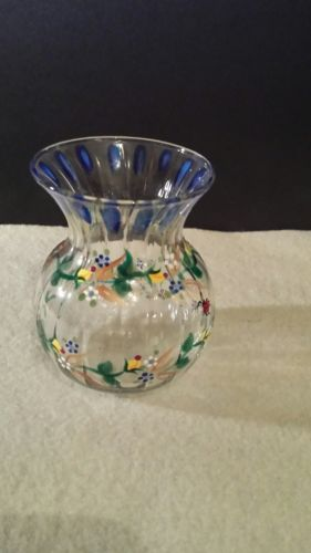Art Glass Small Vase With Hand Painted Flowers of yellow blue & white