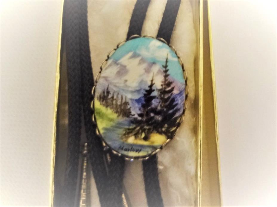 Western Bolo Tie Black Painting of Colorado Rockies 1.5 Inch Oval New