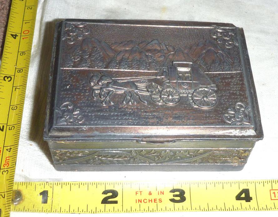 Antique Metal TRINKET BOX - Hinged - StageCoach Scene - Japan ~ 3