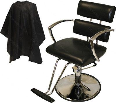 Black Chrome Arm Hydraulic Barber Chair Styling Hair Spa Beauty Salon Equipment