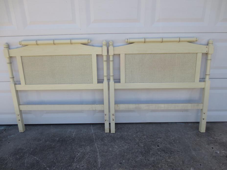 Pair Twin Headboards Hollywood Regency Faux Bamboo LOW 2 Cottage Wicker TLC