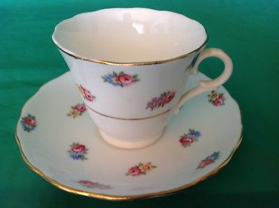 BONE CHINA CUP & SAUCER BY COLCLOUGH PINK RESE YELLOW BLUE FLOWERS