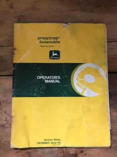 John Deere Sprintfire Snowmobile Operator's Manual Original OM-M69631 Issue H2