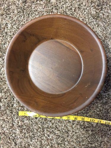 Vintage Wood Pedestal Fruit Bowl Walnut 13