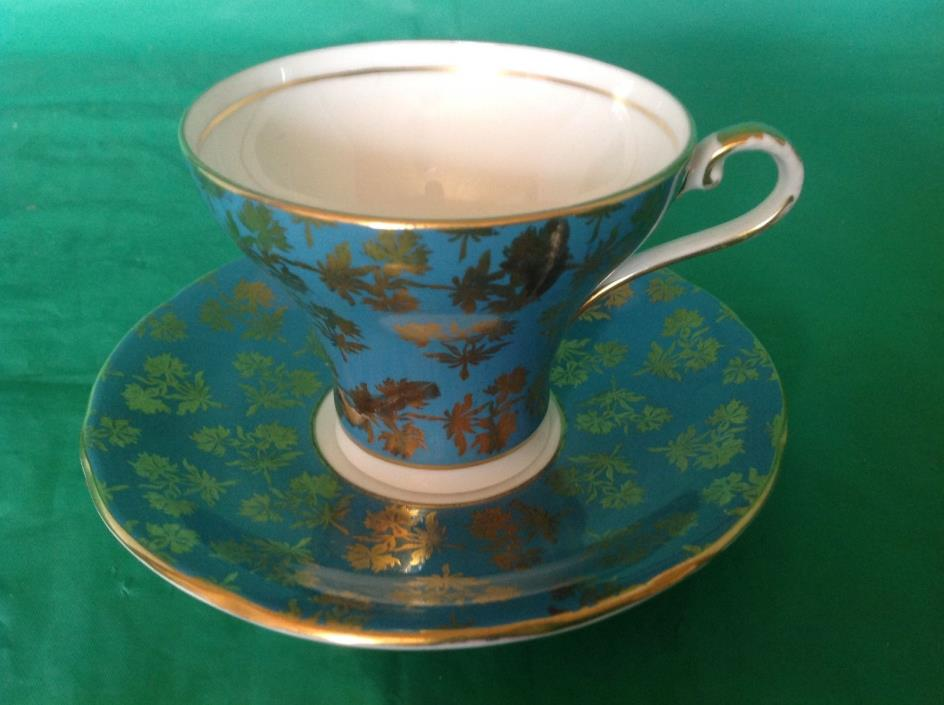 BONE CHINA CUP & SAUCER BY AYNSLEY C2457 GOLD CHINTZ FLOWERS ON TEALBLUE