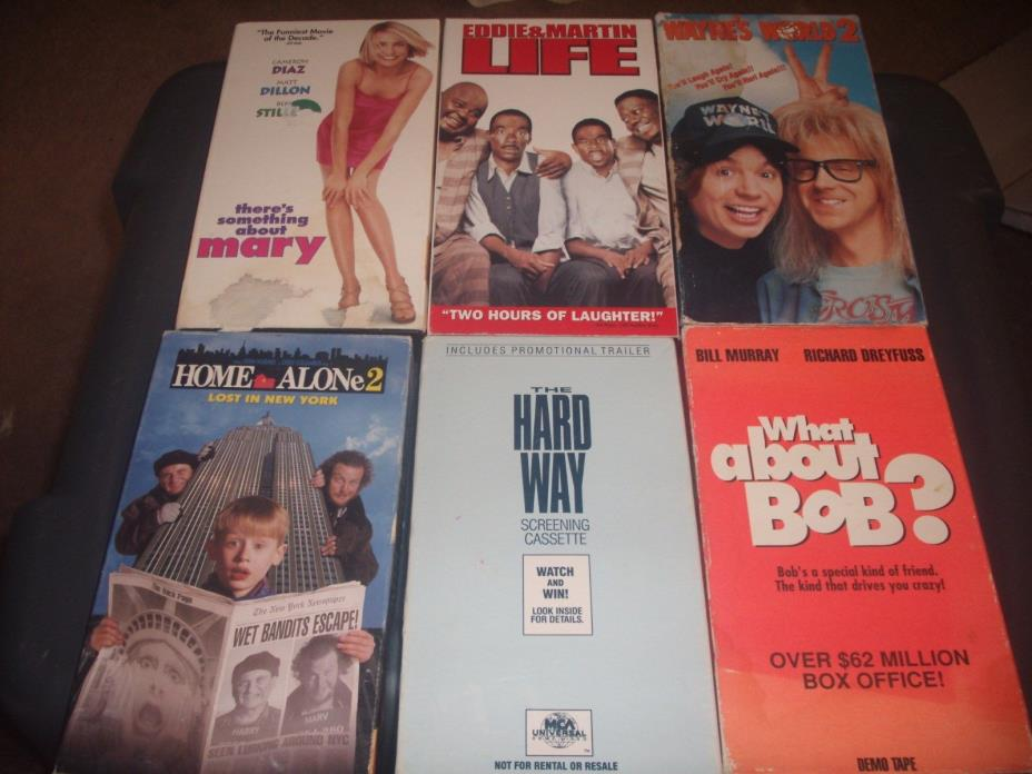 VHS MOVIE LOT OF 6 HOME ALONE 2,HARD WAY,WHAT ABOUT BOB,LIFE,WAYNEES WORLD