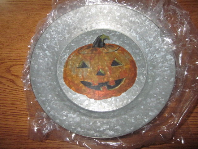 S/4 Pottery Barn Galvanized Jack O Lantern Pumpkin 9