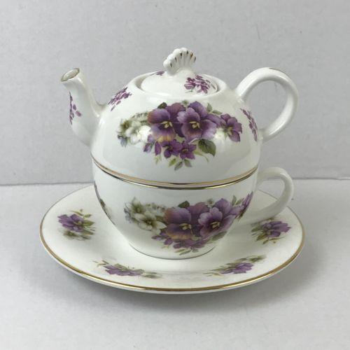 Crown Windsor England Teapot Set Tea Cup Saucer Violets Flowers