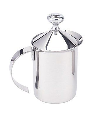 HIC Milk Creamer Frother Cappuccino Coffee Foam Pitcher with Handle and Lid Accs