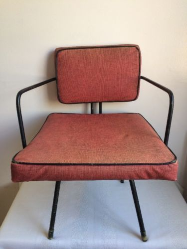 Rare Mid Century Modern Seng Of Chicago Red Wrought Iron Child's Chair