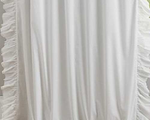 Pottery Barn Kid Ruffle Border blackout 44x84 drape ONE PANEL white