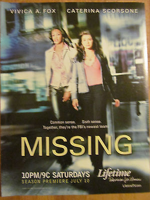 Missing, Vivica A. Fox, Caterina Scorsone, Full Page Promotional Ad