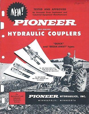 Equipment Brochure - Pioneer - Hydraulic Couplers c1959-64 Farm Tractor (E3913)
