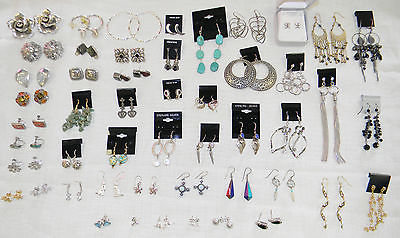 MIXED RESALE LOT 50 Pair Earrings Mostly Sterling Fashion Gemstone Silver Gold