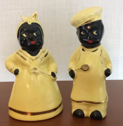 Vintage Black Americana Salt & Pepper Shakers Chef Man Woman Yellow Gold Trim