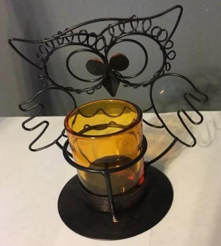 Autumn Fall Harvest Seasonal Owl Metal Tea-light Candle Holder New