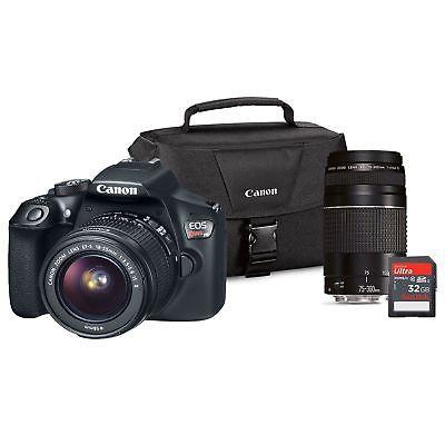 Canon EOS Rebel T6 DSLR Camera Lens Bundle, EF-S 18-55mm IS, EF75-300 III Lens