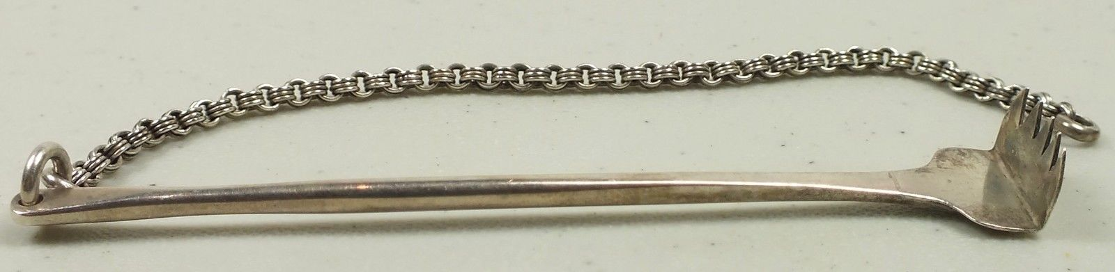 Hallmarked Antique Sterling Silver Snuff Blending Rake With Double Chain