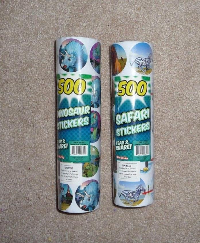 Lot Jumbo Teacher Dinosaurs & Safari Animals Stickers 1000 Party Favors Crafting