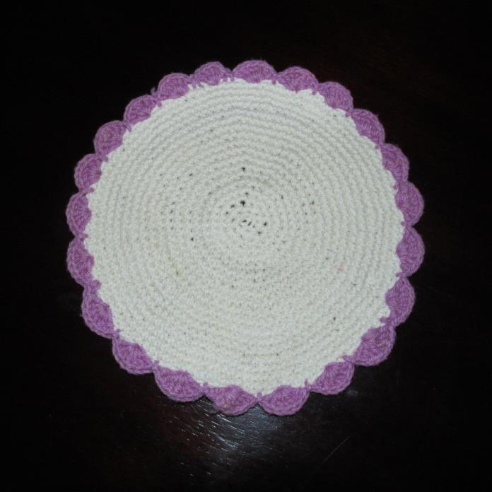 Vintage / Antique Beige w/Purple Handmade Round Crocheted Doilie
