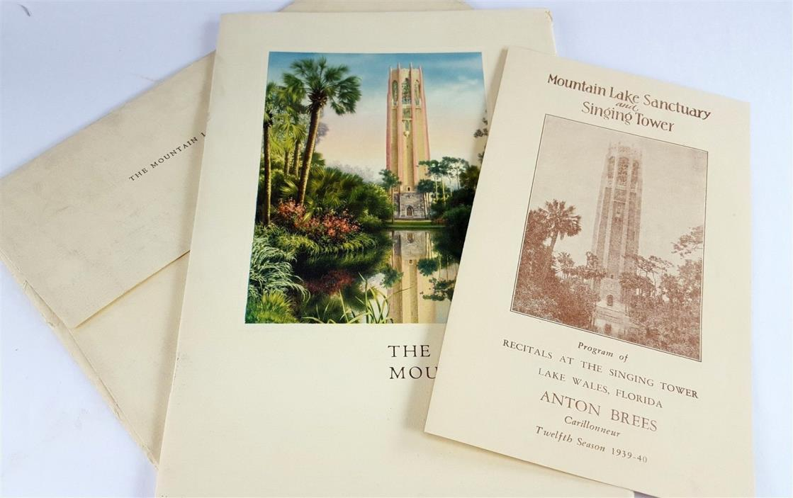 Mountain Lake Sanctuary & Singing Tower Booklet 1940 24 Page Guide