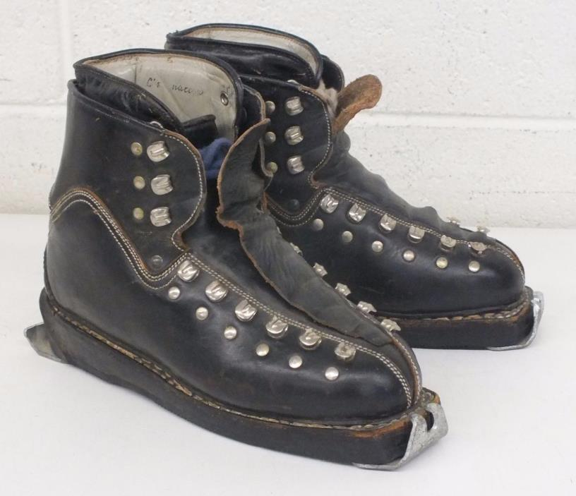 Vintage SEMPERT WEDEL-SOLE Men's US 6 Black-Leather Lace-Up Alpine Ski Boots