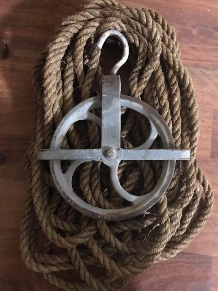 "Vintage 9"" swivel wheel well & barn pulley DURBIN - DURCO + 65 Feet Hemp Rope"