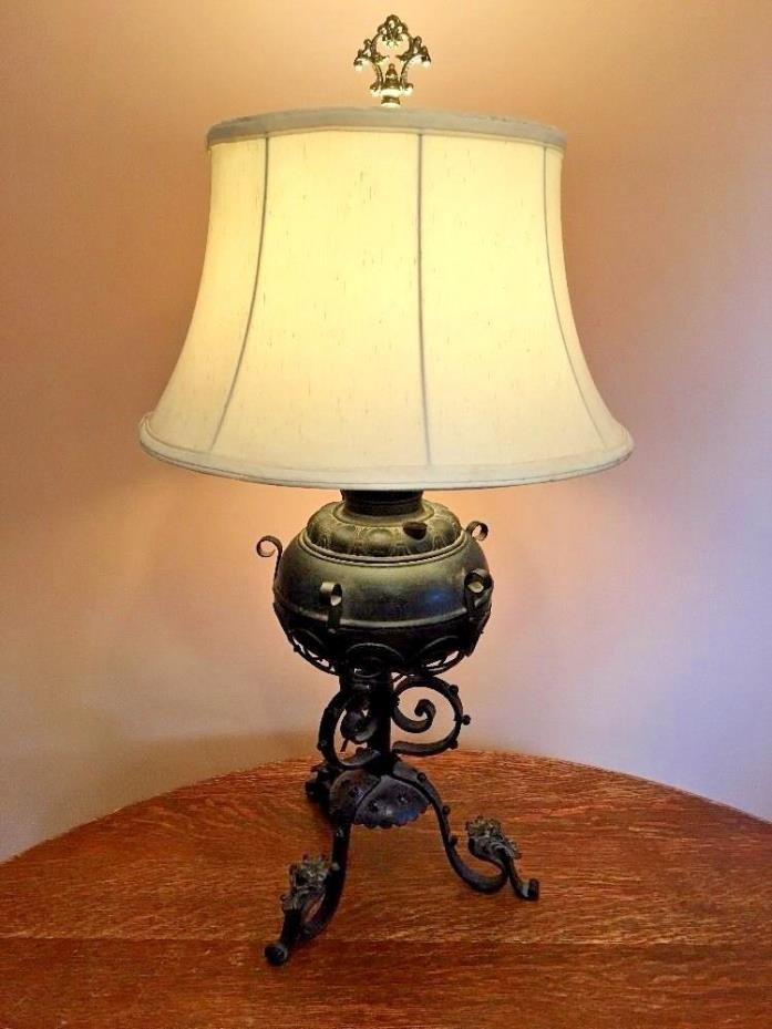 Antique Decorative Wrought Iron Kerosene Lamp Converted To Electric