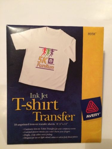 Avery 8938 T-Shirt Transfers Inkjet Light Fabric - 18 Sheets - New - FREE SHIP