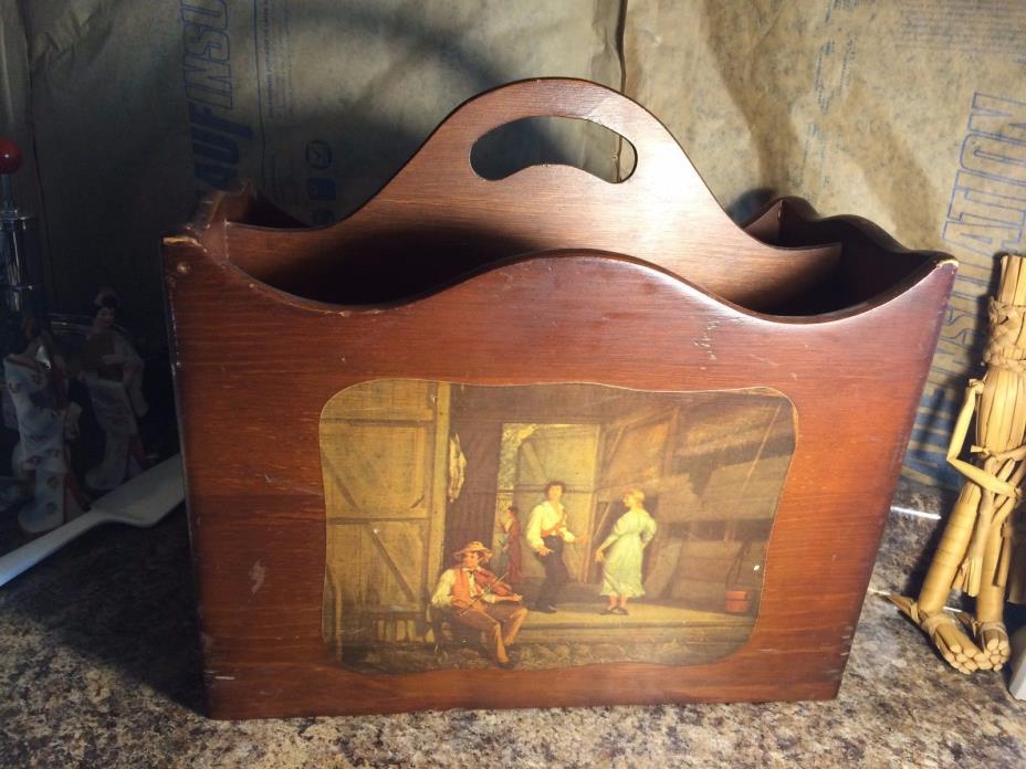 Vintage Wooden Decorative Magazine Rack Holder