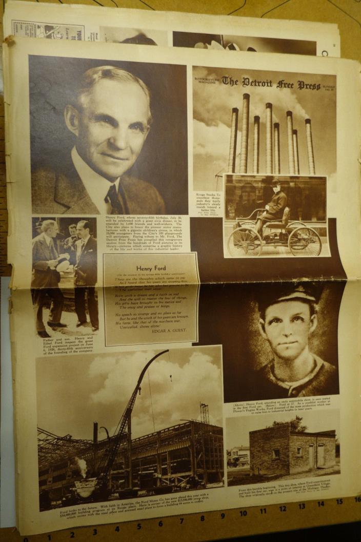 1938 Historical Detroit Free Press Newspaper - HENRY FORD 75th BIRTHDAY