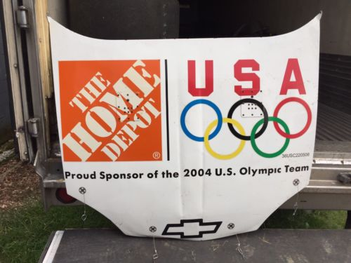 Tony Stewart 2004 Home Depot/ Olympics NASCAR Race Used Sheet Metal Hood