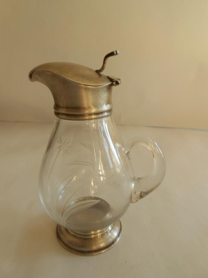 Vintage Etched Glass and Sterling  Syrup Pitcher
