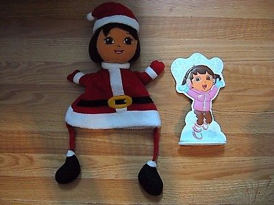 DORA THE EXPLORER SANTA HAT and Metal Decoration NICKELODEON