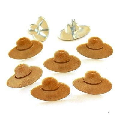 STRAW HAT BRADS ** EYELET OUTLET* 8 PCS