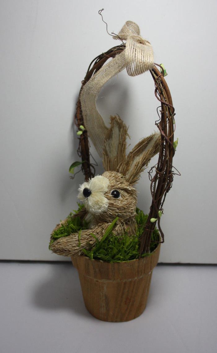 Sisal Natural Bunny in Basket Easter Spring Decoration 13