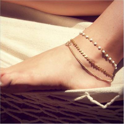 White Beads Ankle Bracelet