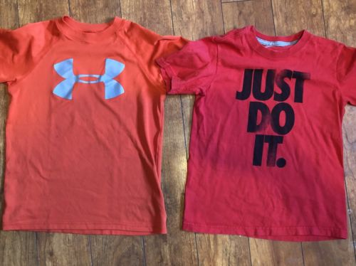 Lot of 2 Youth Small shirts Under Armour & Nike Boys