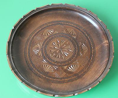 Large Vintage Wooden Treen Carved Floral Bowl / Plate 29cm c.1970