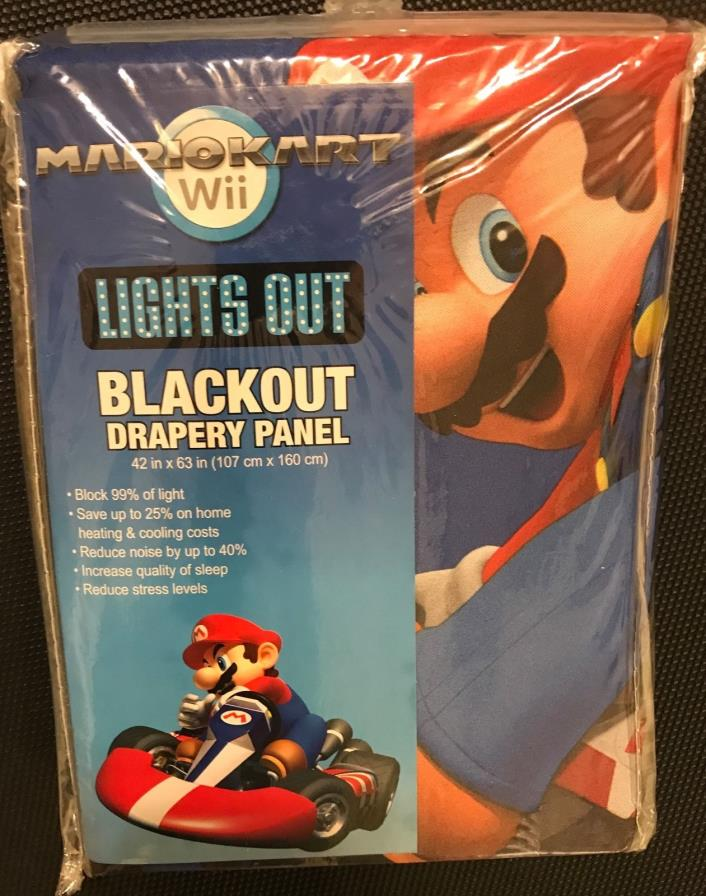 NEW Super Mario Kart Lights Out Blackout Curtain Drapery Panel 42