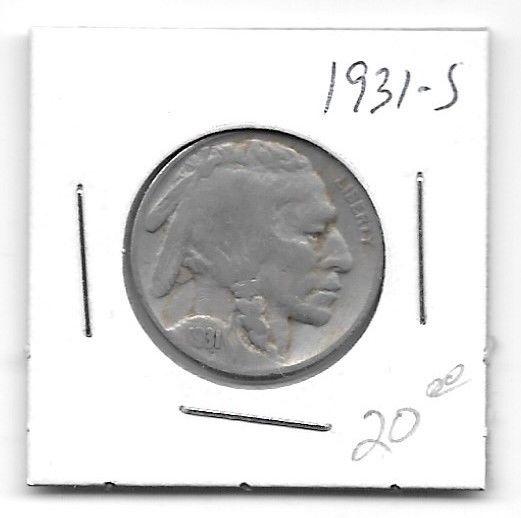 United States 1931-S Buffalo Nickel - Variety 2 - 5 Cents